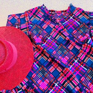 Vtg 70s Neon Plaid Shift Mumu Tent  Dress S M